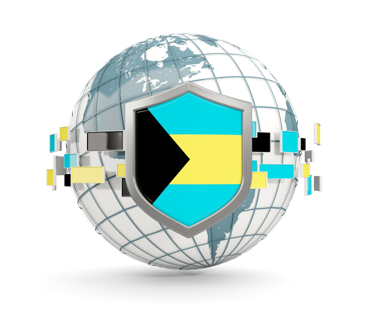 A Globe with a framed Bahamas flag in front and link to the Bahamas Real Estate Association